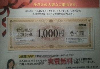 日本盛のトライアルキットに付いてきた1,000円クーポン